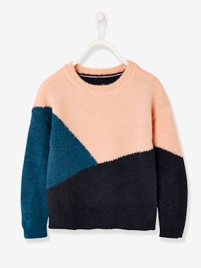 Girls-Cardigans, Jumpers & Sweatshirts-Colourblock Jumper for Girls