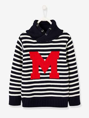 Boys-Cardigans, Jumpers & Sweatshirts-Jumpers-Striped Jumper, High Crossover Neck, for Boys