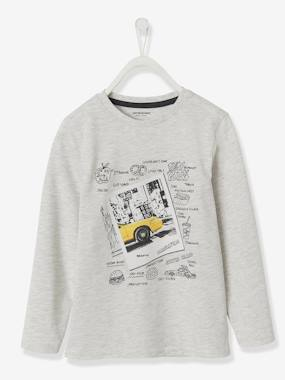 Boys-Tops-T-Shirts-Long-Sleeved Top with Photoprint Motif