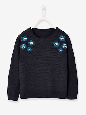 Girls-Cardigans, Jumpers & Sweatshirts-Jumpers-Top with Embroidered Flowers, for Girls