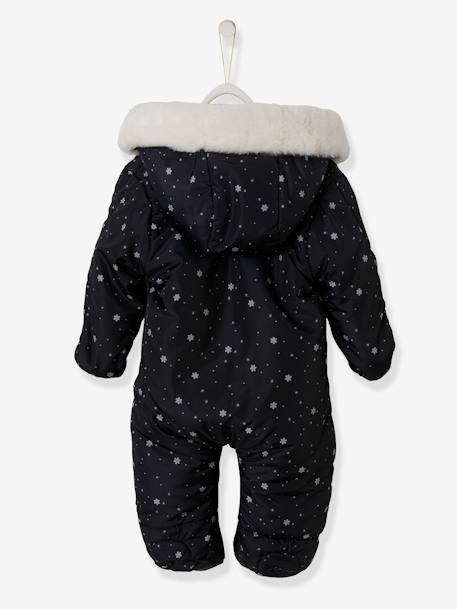 Pramsuit with Full-Length Double Opening, for Babies BLACK DARK ALL OVER PRINTED+PINK MEDIUM ALL OVER PRINTED - vertbaudet enfant