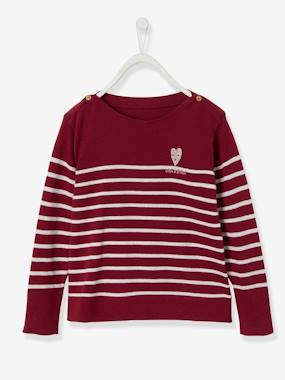 Girls-Cardigans, Jumpers & Sweatshirts-Sailor-Style Jumper with Embroidery on Breast for Girls
