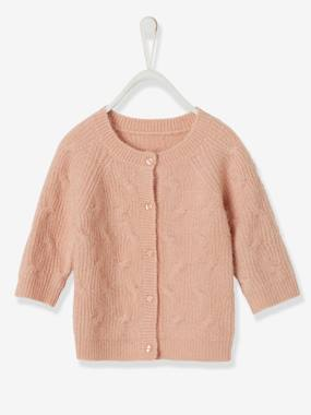 Baby-Jumpers, Cardigans & Sweaters-Cardigans-Cardigan in Fancy Knit, for Baby Girls