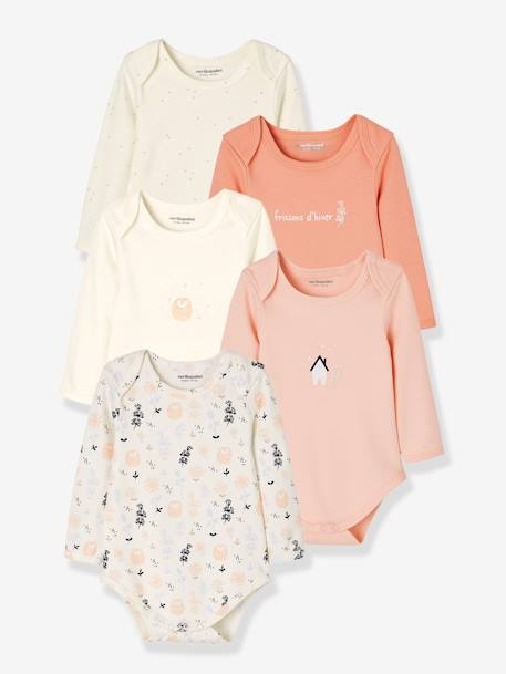 Pack of 5 Long-Sleeved Bodysuits for Babies, in Pure Cotton PINK LIGHT 2 COLOR/MULTICOL R - vertbaudet enfant