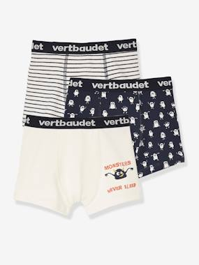 Boys-Underwear-Underpants & Boxers-Pack of 3 Stretch Boxer Shorts, Monsters, for Boys