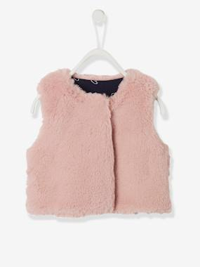 Baby-Jumpers, Cardigans & Sweaters-Cardigans-Waistcoat in Faux Fur, for Baby Girls