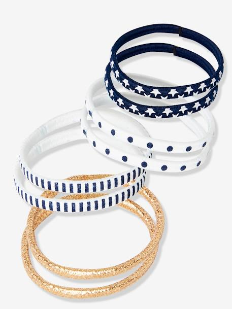 Set of 8 Elastic Bands WHITE LIGHT ALL OVER PRINTED - vertbaudet enfant