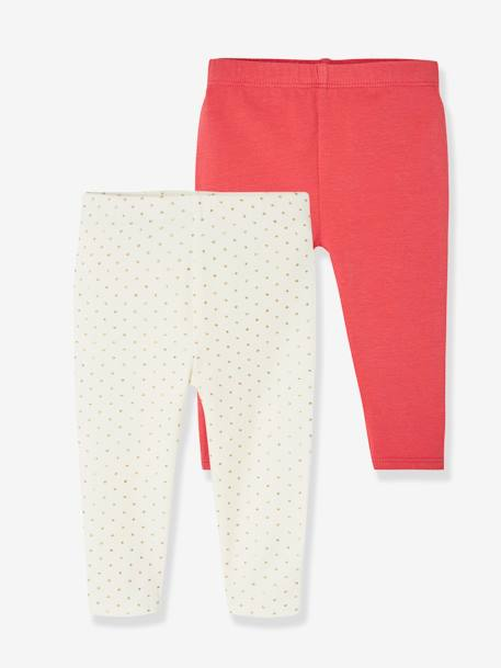 Lot de 2 leggings longs bébé fille LOT IVOIRE+LOT MARINE GRISE+Lot noir+LOT ROSE PALE - vertbaudet enfant
