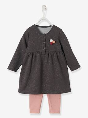 Baby-Outfits-Fleece Dress & Leggings Ensemble for Baby Girls