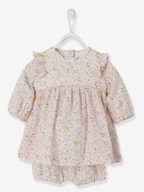 Vertbaudet Collection-Baby-Dresses & Skirts-Dress with Bloomer Shorts for Newborns