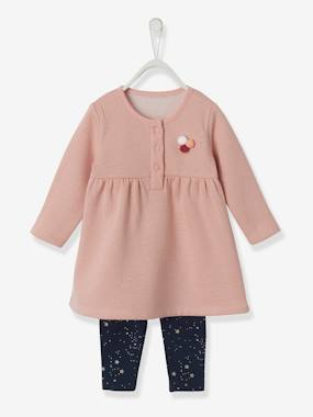 Baby-Dresses & Skirts-Fleece Dress & Leggings Ensemble for Baby Girls