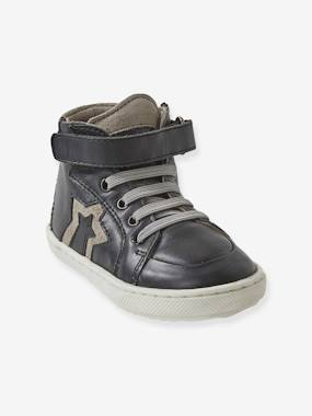 Shoes-Baby Footwear-Baby Boy Walking-Leather High Top Trainers, for Boys