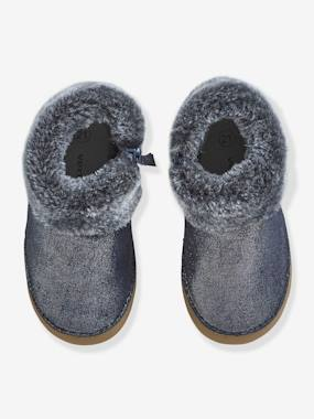 Shoes-Soft Leather Pram Shoes with Faux Fur for Baby Girls