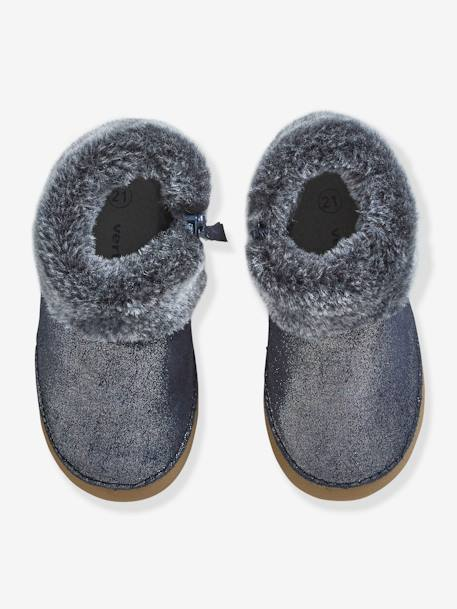 Soft Leather Pram Shoes with Faux Fur for Baby Girls BLUE DARK METALLIZED - vertbaudet enfant