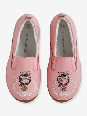 Shoes-Girls Footwear-Leather Slippers with Faux Fur for Girls