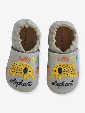 Shoes-Baby Footwear-Slippers & Booties-Soft Leather Pram Shoes for Baby Boys