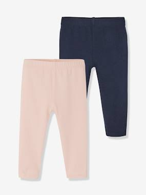 Vertbaudet Basics-Baby-Baby Girls' Pack of 2 Long Leggings