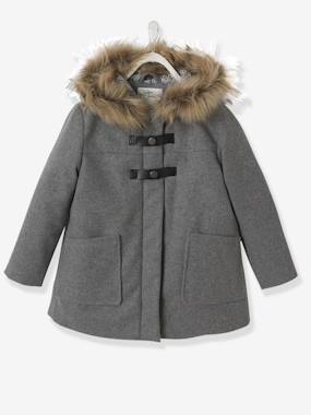 Girls-Coats & Jackets-Duffle-Type Coat with Hood, for Girls