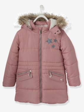 Girls-Coats & Jackets-Long Parka, with Hood & Applied Stars, for Girls