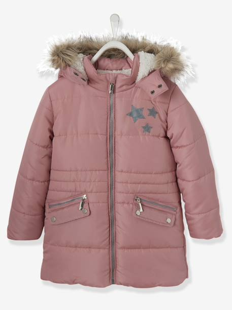 finest selection ac6fe 8eff1 Long Parka, with Hood & Applied Stars, for Girls - pink medium solid with  desig, Girls