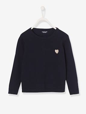 Vertbaudet Basics-Shiny Heart Jumper for Girls