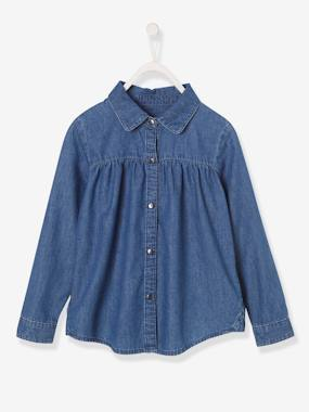 Vertbaudet Collection-Girls-Blouses, Shirts & Tunics-Denim Blouse, for Girls