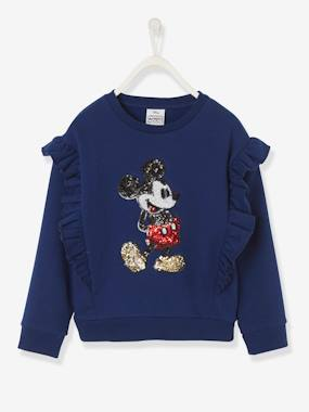 Vertbaudet Collection-Girls-Cardigans, Jumpers & Sweatshirts-Mickey® Sweatshirt with Sequins, for Girls
