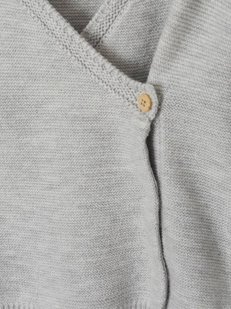Cotton & Wool Cardigan, for Babies GREY LIGHT MIXED COLOR+WHITE LIGHT SOLID - vertbaudet enfant
