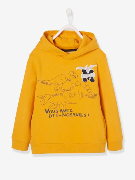 Hooded Sweatshirt, Dinosaur Motif, for Boys YELLOW DARK SOLID WITH DESIGN - vertbaudet enfant