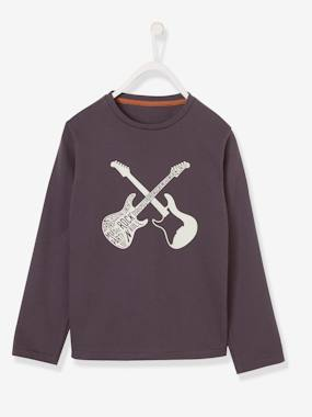 Boys-Tops-T-Shirts-Top with Glow-in-the-Dark Guitars Motif for Boys