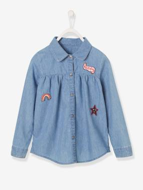 Girls-Blouses, Shirts & Tunics-Denim Shirt with Patches, for Girls