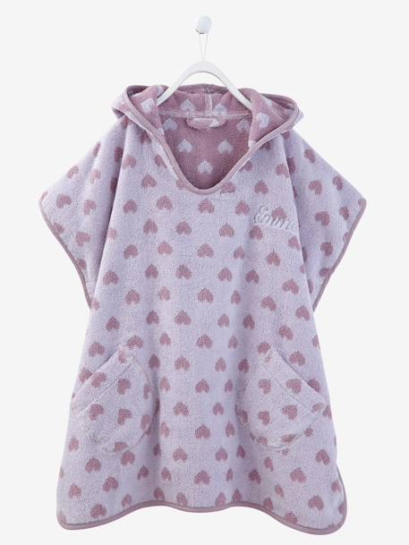 Child's Hooded Bath Poncho Blue/stars+Grey/stars+PINK MEDIUM ALL OVER PRINTED+Pink/polka dot+PURPLE LIGHT ALL OVER PRINTED+Violet/heart - vertbaudet enfant