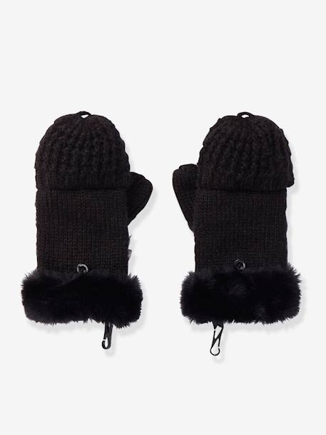 Convertible Mitten Gloves, Fancy Knit, for Girls BLACK DARK SOLID+PINK LIGHT SOLID - vertbaudet enfant