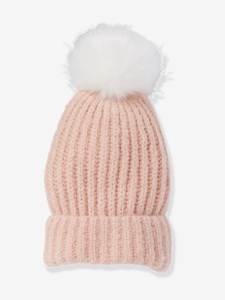 Beanie with Pompom, for Girls BROWN LIGHT SOLID+PINK LIGHT SOLID - vertbaudet enfant