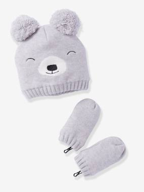 Baby-Hats & Accessories-Lined Beanie + Mittens Set, for Baby Boys