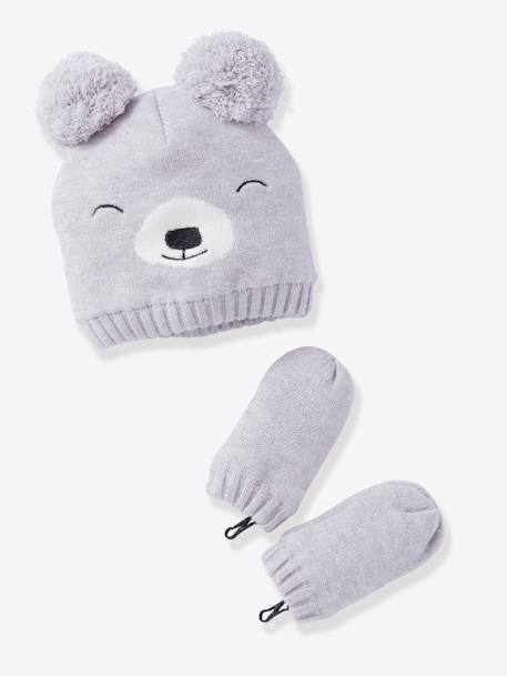 Lined Beanie + Mittens Set, for Baby Boys GREY LIGHT SOLID - vertbaudet enfant