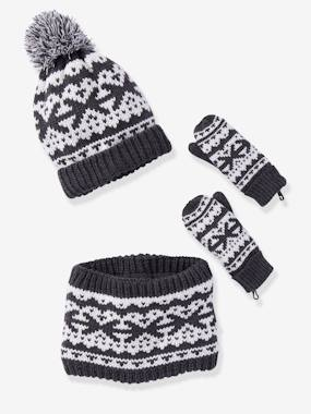 Boys-Accessories-Winter Hats, Scarves & Gloves-Jacquard Knit Beanie + Snood + Gloves Set