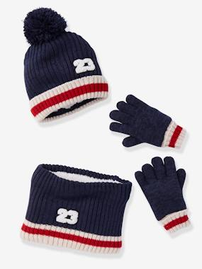 Boys-Accessories-Winter Hats, Scarves & Gloves-Beanie + Snood + Gloves with Bouclé Appliqué Set, for Boys