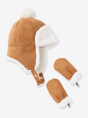 Baby-Hats & Accessories-Lined Chapka Hat + Mittens Set, for Baby Boys