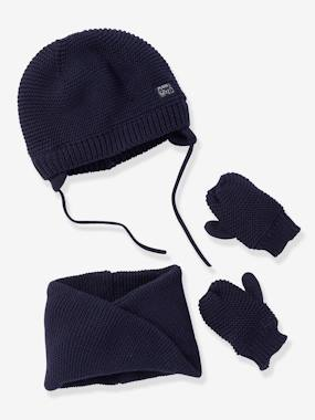 Baby-Hats & Accessories-Chapka + Snood + Mittens Set, for Baby Boys