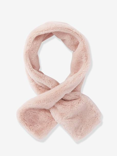 Faux Fur Scarf, for Girls BLACK DARK SOLID+PINK LIGHT SOLID - vertbaudet enfant