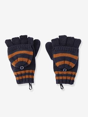 Boys-Accessories-Winter Hats, Scarves & Gloves-Convertible Fingerless Mitten Gloves, Striped, for Boys