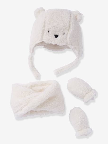 Baby Chapka, Snood & Mittens Set WHITE LIGHT SOLID 2 - vertbaudet enfant