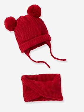 Baby-Hats & Accessories-Chapka + Snood Set, for Baby Girls