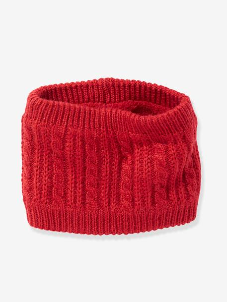 Cable Knit Snood for Girls RED DARK SOLID+WHITE LIGHT SOLID - vertbaudet enfant