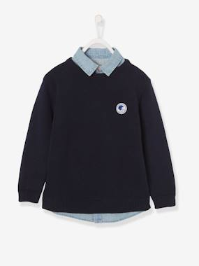 Boys-Cardigans, Jumpers & Sweatshirts-Jumpers-2-in-1 Effect Jumper for Boys