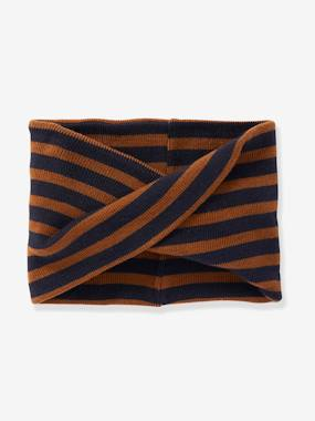 Boys-Accessories-Winter Hats, Scarves & Gloves-Crossover Striped Snood, for Boys
