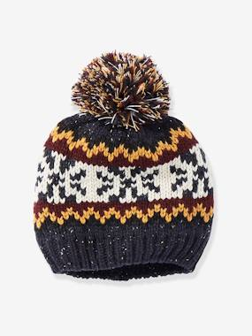 Boys-Accessories-Winter Hats, Scarves & Gloves-Jacquard Knit Beanie with Pompom, for Boys