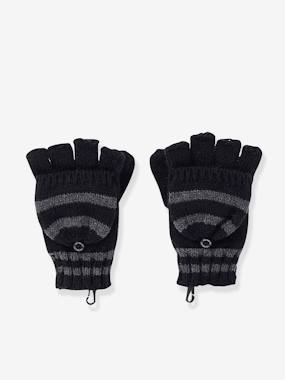 Boys-Accessories-Convertible Fingerless Mitten Gloves, Striped, for Boys
