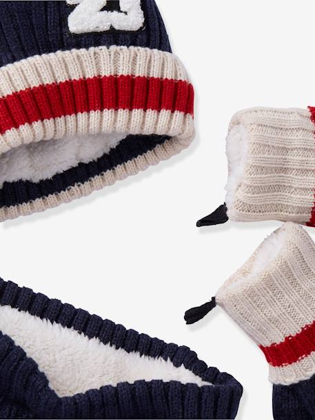 Beanie + Snood + Gloves with Bouclé Appliqué Set, for Boys BLUE DARK SOLID - vertbaudet enfant